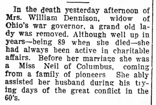 Anne Neil Dennison - the death yesterday afternoon of Mrs. William...
