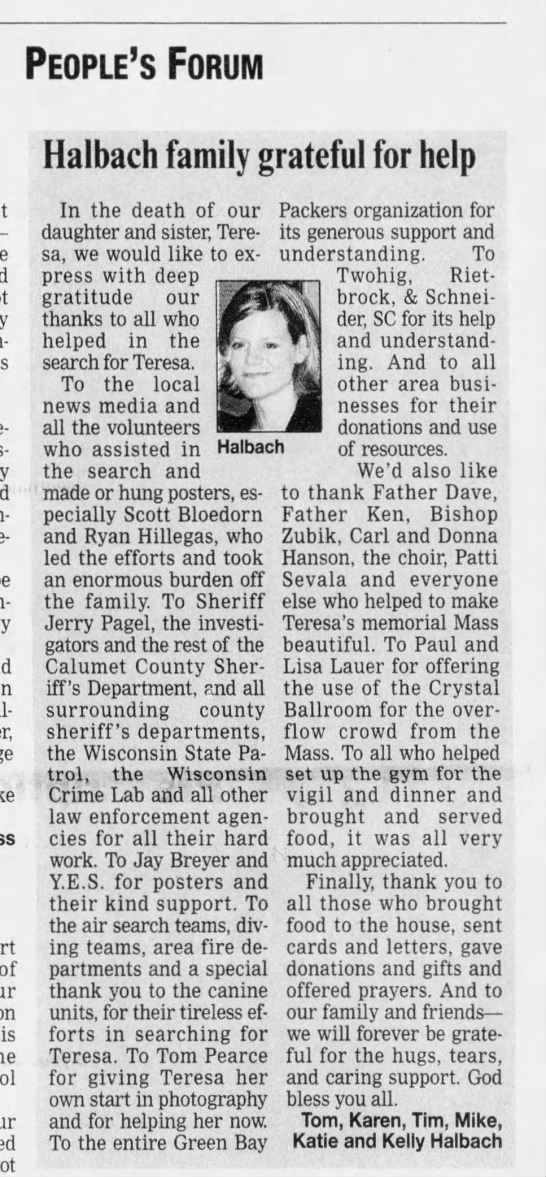 Teresa parents thank everyone dec 6 2005 - People's Forum Halbach family In the death of...