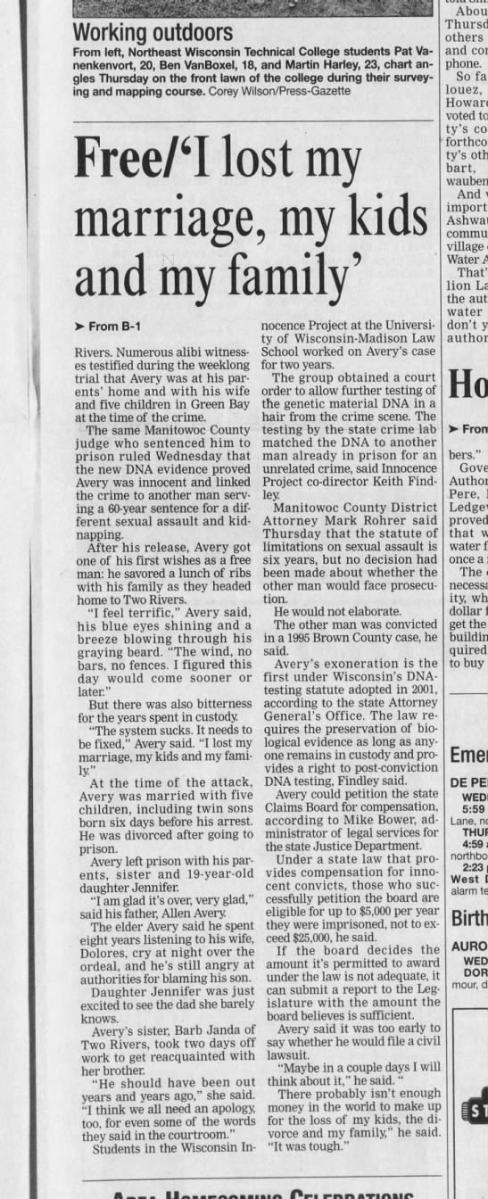 Steven avery freed Sept 12 2003 pg2 - Working outdoors From left, Northeast Wisconsin...