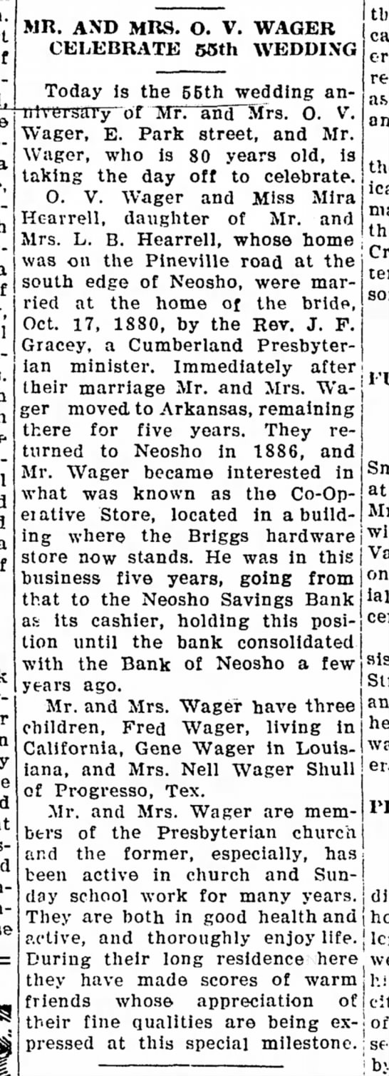 Neosho Times 17 October 1935 - MR, AND MRS. O. V. WAGER CELEBRATE 55th WEDDING...