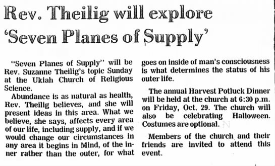 Ukiah Daily Journal: 22 Oct 1982: Rev. Theilig will explore Seven Planes of Supply -