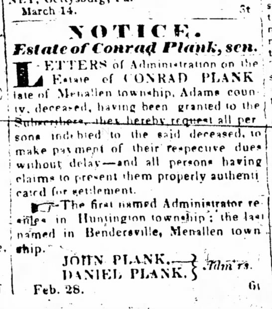 Estate of Conrad Plank, 28 Mar 1842 -