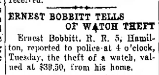 Bobbitt, Ernest - his watch is stolen in The Journal News (Hamilton, Ohio) issue 18 Jun 1936, p. 7 -