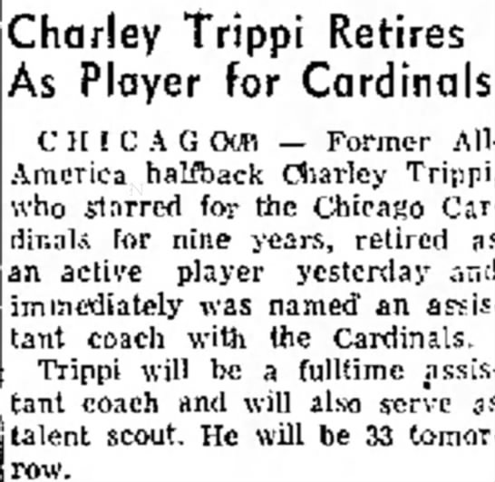 Charley Trippi Retires As Player for Cardinals -