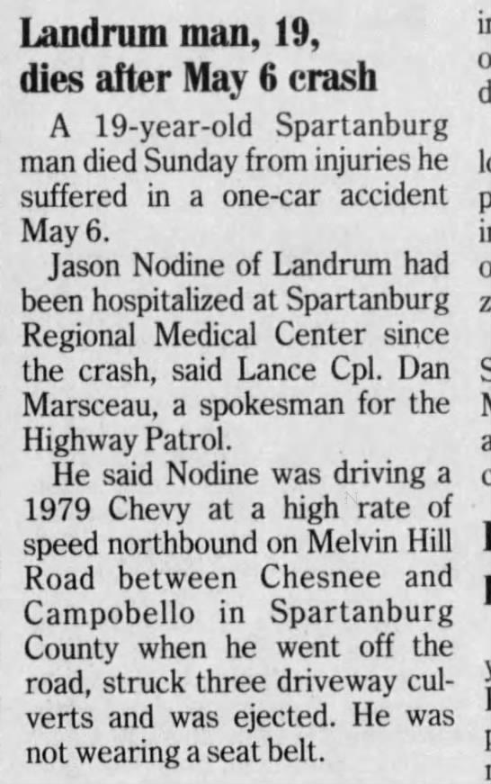 Jason Nodine Dies after crash The Greenville News Greenville SC 14 May 2001 Mon -
