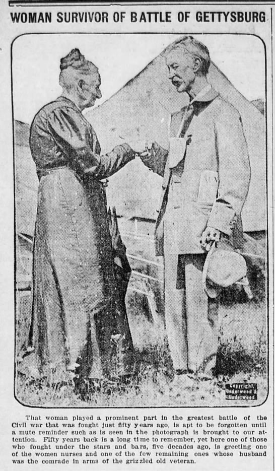 1913 photo of a nurse and a veteran who served at the Battle of Gettysburg - WOMAN SURVIVOR OF BATTLE OF GETTYSBURG. That...