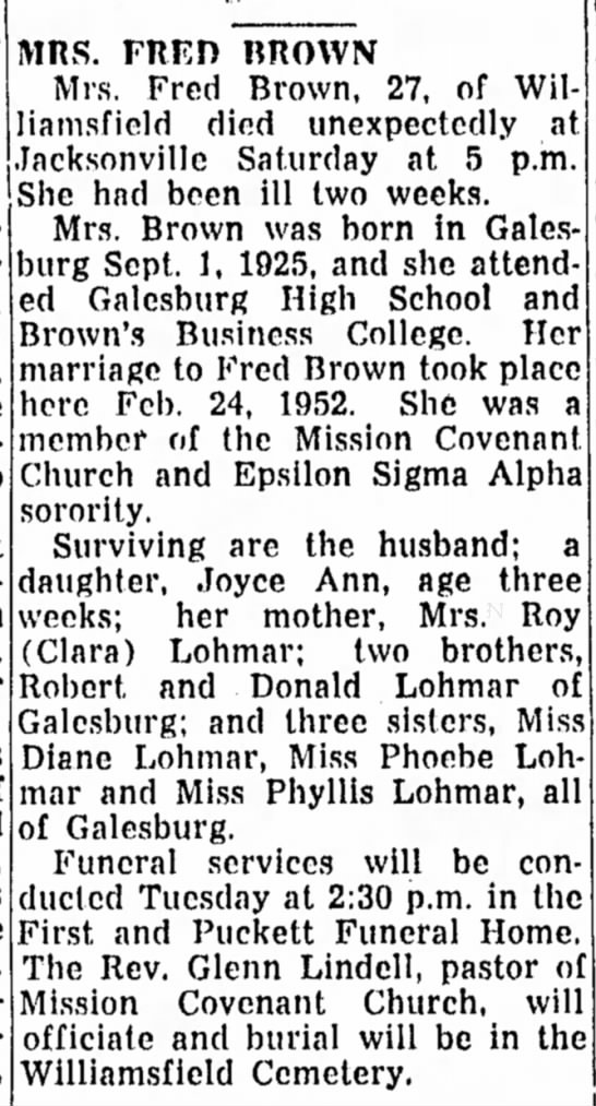 The Daily Register-Mail, Galesburg, IL; Monday June 22, 1953; p. 17. -