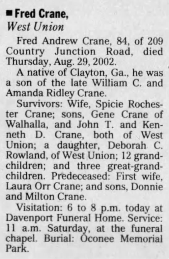 Fred Crane - Obituary The Greenville News 30 AUG 2002 -