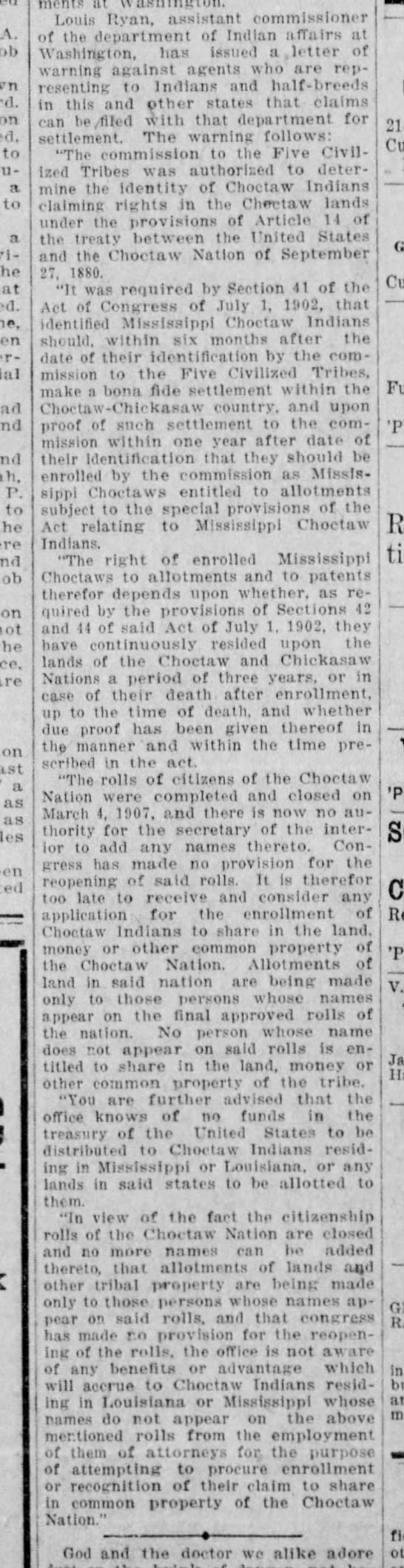 Mississippi & Louisiana Choctaw Indian Claims 1911