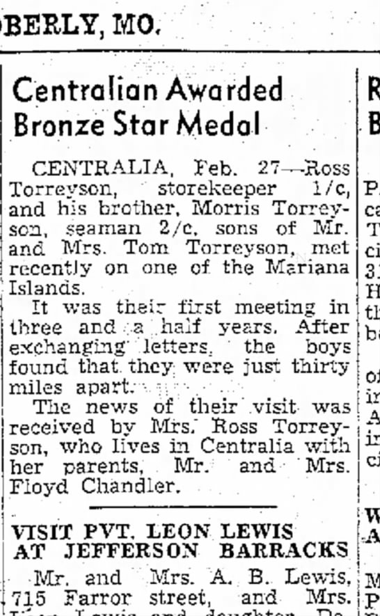 Monitor-Index and Democrat, Moberly, Missouri  27 Feb 1945, p. 2 -