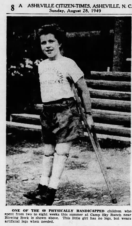1949/08/28 Girl at Camp Sky Ranch - o A ASHEVILLE CITIZEN-TIMES, ASHEVILLE, N. C....