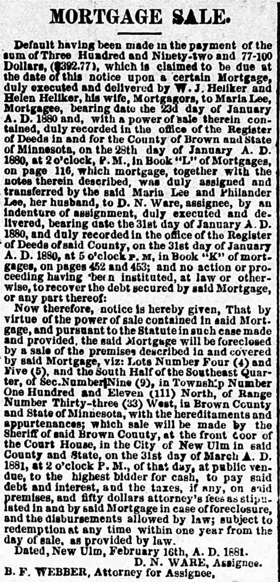 31 Jan 1880 Philander and Maria Lee transferred their Mortgage -