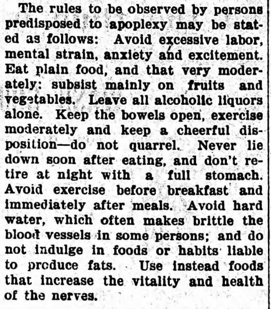 1905 Rules for Avoiding Apoplexy -