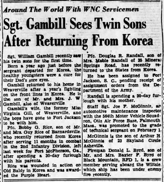 William Whitaker Gambill sees twins for first time after returning from Korean service 1953 -