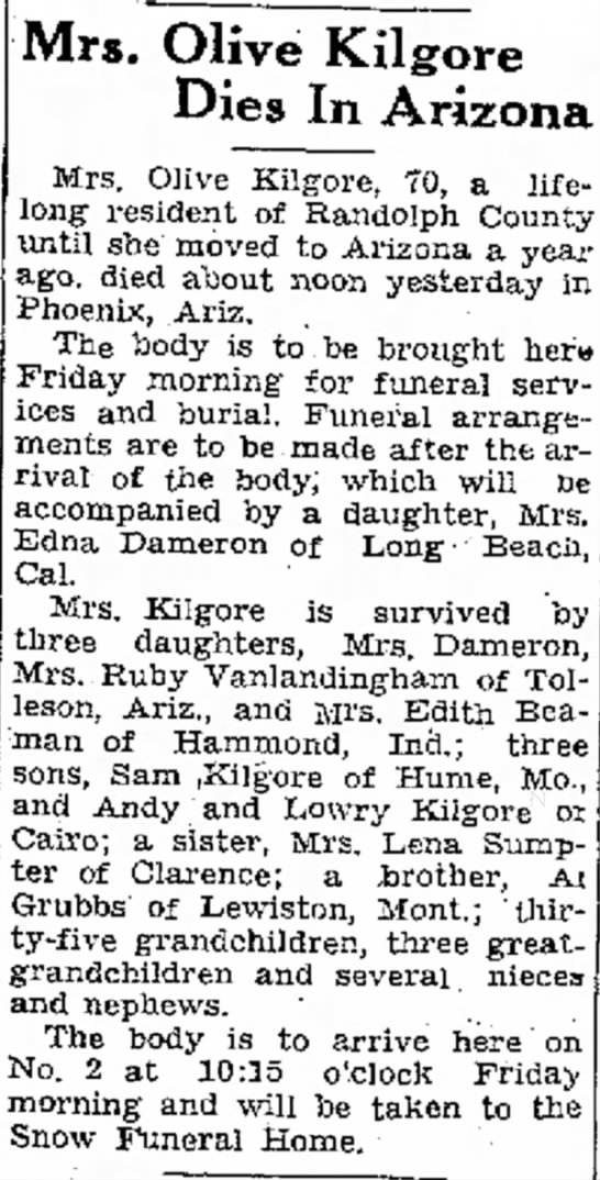 Olive H. Kilgore's death notice in Moberly Monitor -