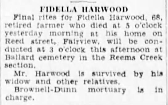 Fidella Harwood Obituary -
