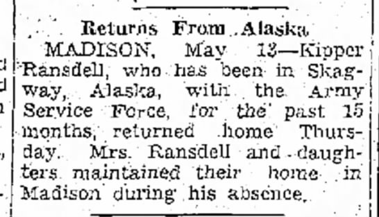 Kipper returns from Army Service Force in Alaska -