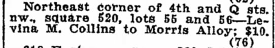 Morris Alloy purchase of lots 55 adn 56 at 4th & Q Northeast, 5/18/1922 -