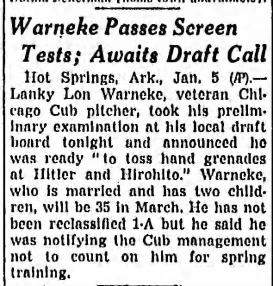Warneke Passes Screen Tests; Awaits Draft Call -