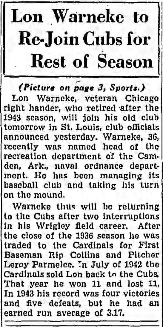 Lon Warneke to Re-Join Cubs for Rest of Season -