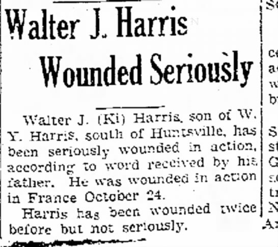 Walter Harris Wounded -