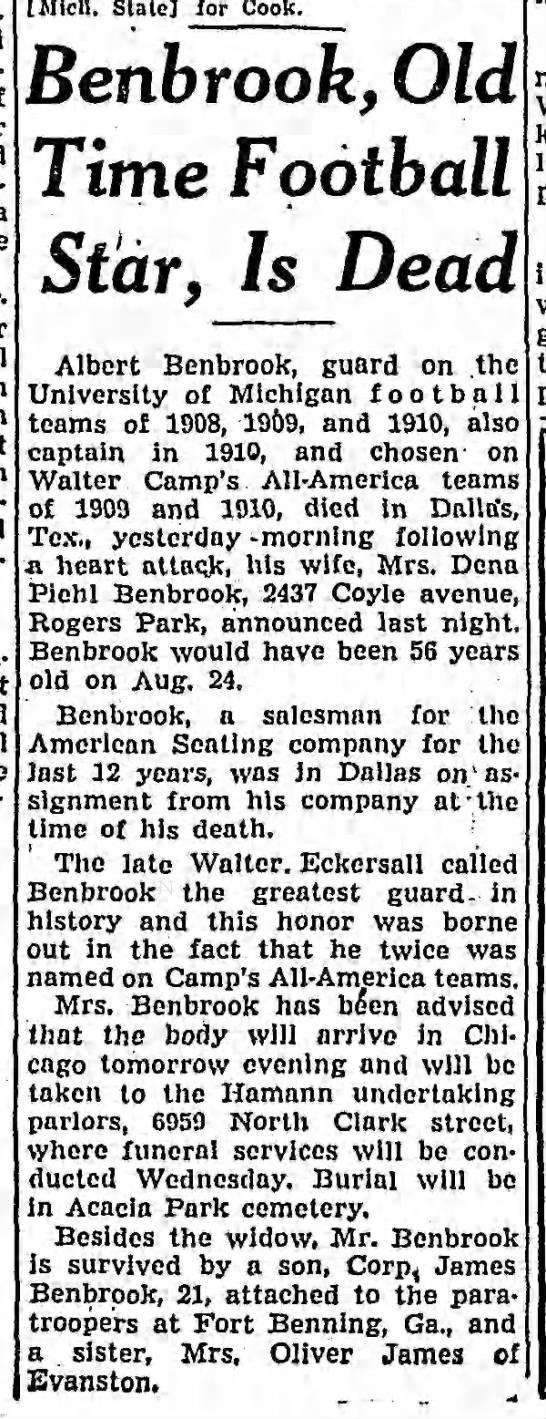 Benbrook, Old Time Football Star, Is Dead -