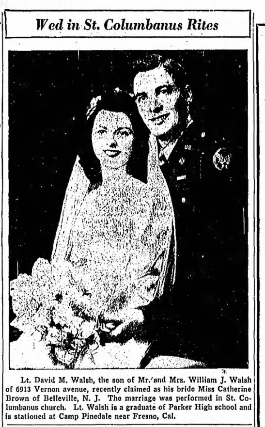David M. Walsh and Catherine Brown Wedding announcement 21 Nov 1943 -