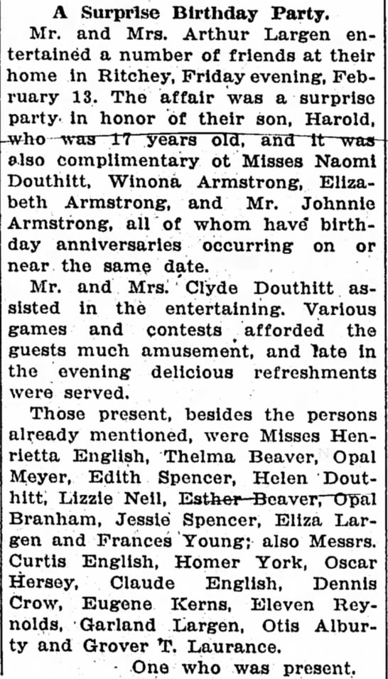 Douthitts at birthday party Feb 19, 1925 -