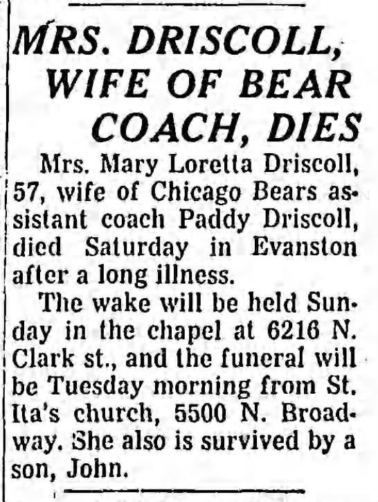 Mrs. Driscoll, Wife of Bear Coach, Dies -