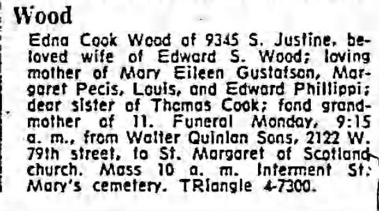 Chicago Tribune (Chicago, Illinois) 24 March 1962 Saturday Page 92 WOOD Edna Cook Wood -
