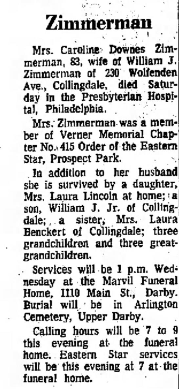 laura zimmerman benckert death notice of mother -