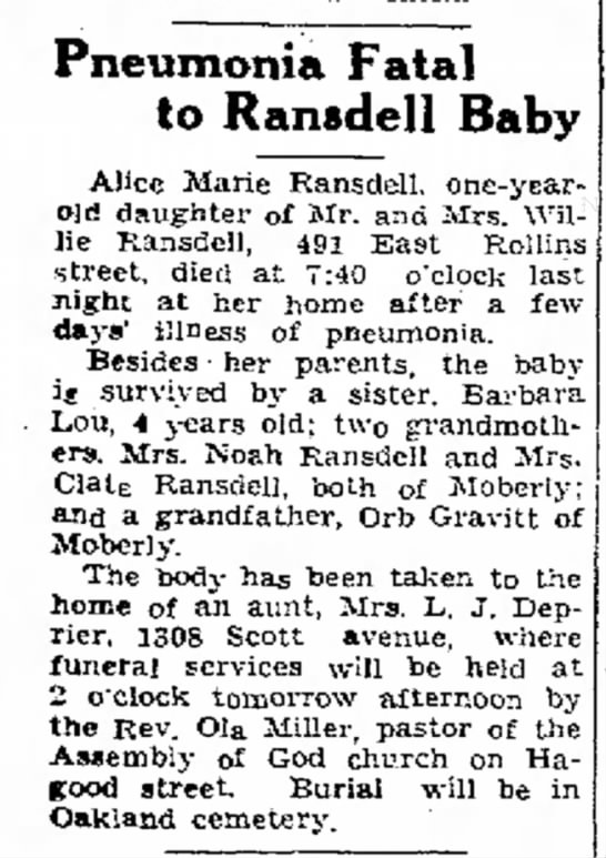 Infant daughter of Mr and Mrs Willie Ransdell obituary -
