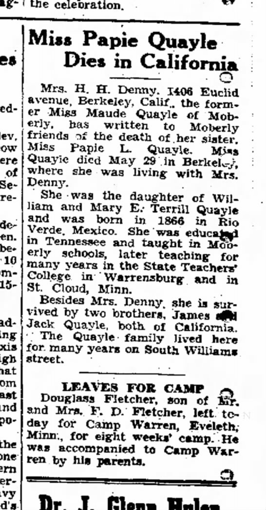 Papie Quayle Dies in California - 19 Jun 1942 - Moberly Monitor-Index -