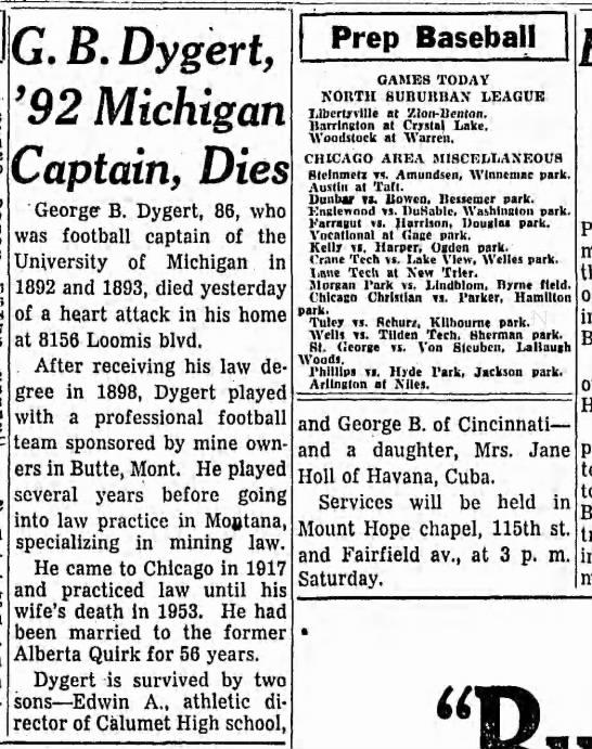 G. B. Dygert, '92 Michigan Captain, Dies -