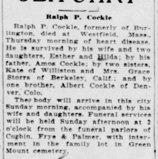 Ralph Cockle Obituary -