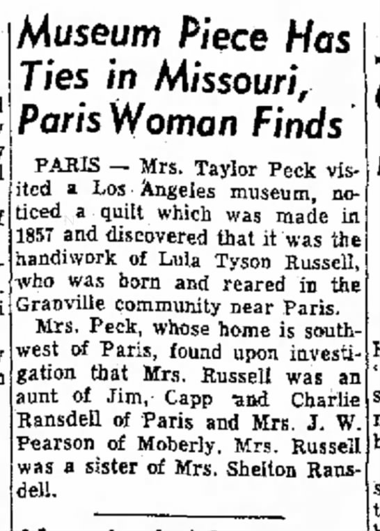 Mrs. Shelton Ransdell's sister has quilt in Los Angeles museum -