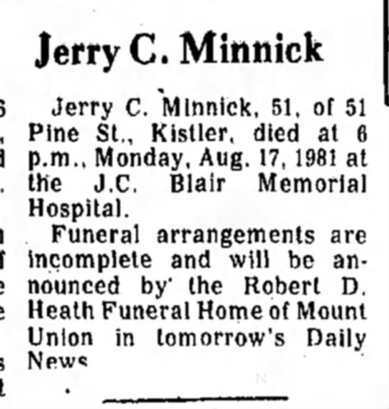Jerry Minnick-Obit-TDN-page 2-18 August 1981 -