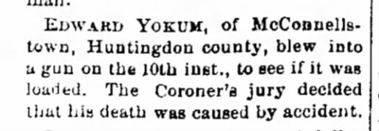Death of Edward Yokum [Yocum] McConnellstown 10 Aug 1875 -