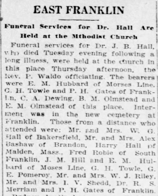 Funeral of Dr J B Hall, 1926, Vermont -