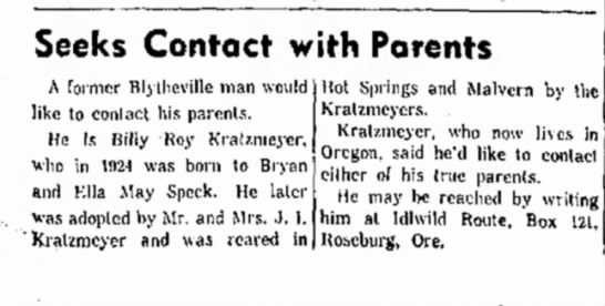 Uncle Roy looking for Parents; The Courier News, Blytheville, Arkansas, 15 January 1963 -