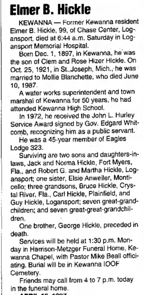 Elmer B Hickle obit (Hickle Lineage) -