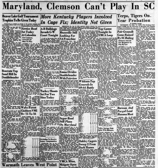 Maryland and Clemson banned from 1952 Southern Conference games -