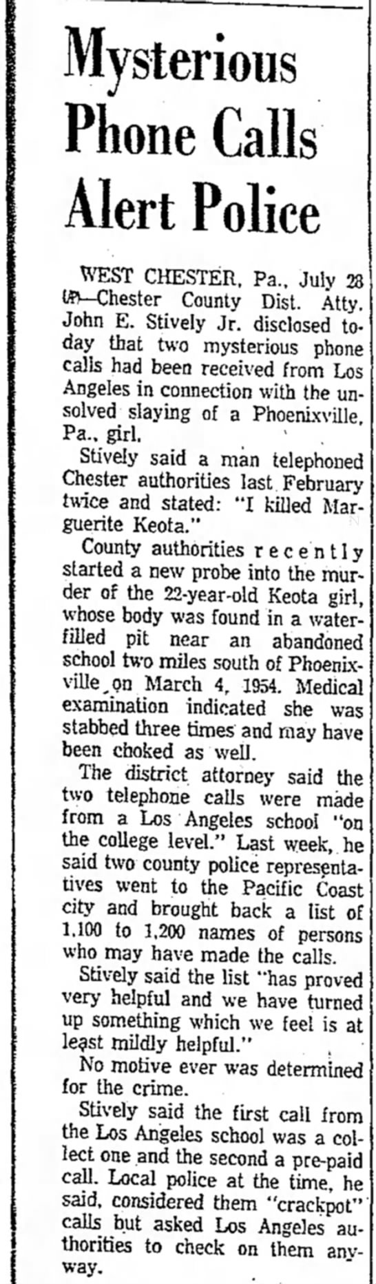 Keota - Mysterious Phone Calls Alert Police WEST...