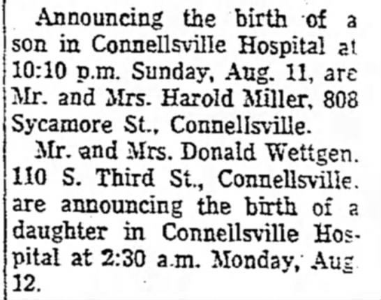 mr and mrs donald wetten have a girl page 7 the morning herald august 13 1957 -