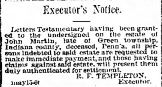 john martin letters of testamentary executors notice ivettcrs testamentary having