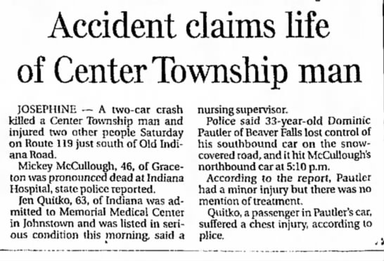 Jen Quitko Auto accident 1984 - Accident claims life of Center Township man...