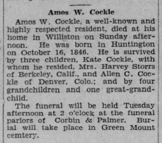 Amos Cockle Death Announcement -