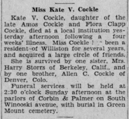 Kate Cockle obituary -