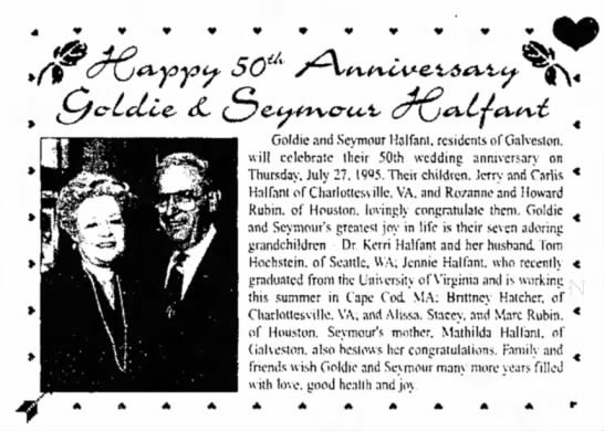 Seymour & Goldie Halfant's 50th Wedding Anniversary -