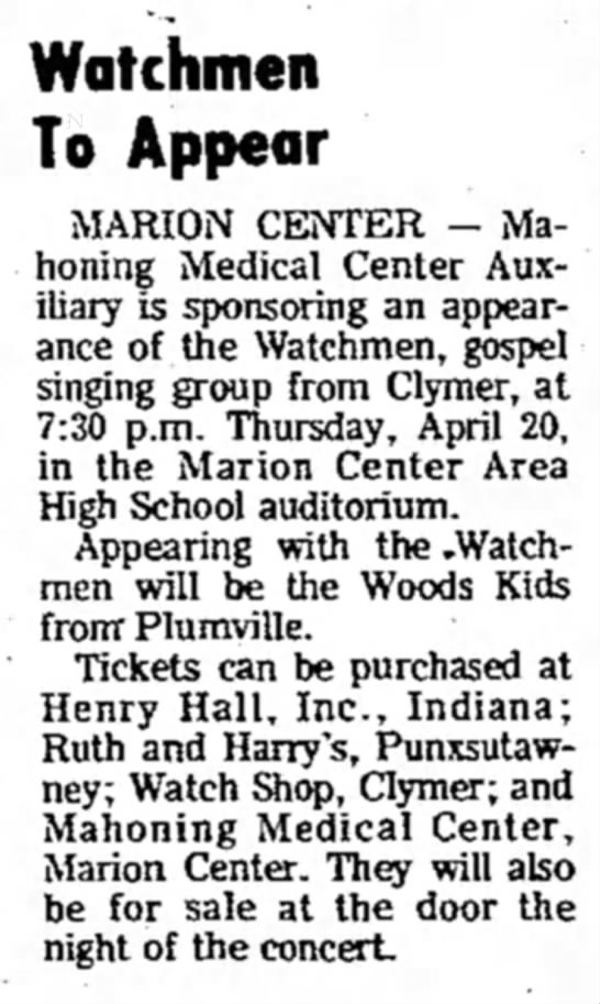 Marion Center Concert Apr 18 1978 -